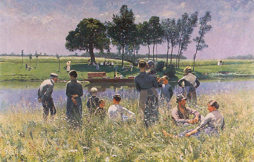 Émile Claus, Pique-nique, paysage la Lys (The Picnic) (1887), oil on canvas, 129 x 198 cm, Institut Royal du Patrimoine artistique, Brussels. WikiArt.