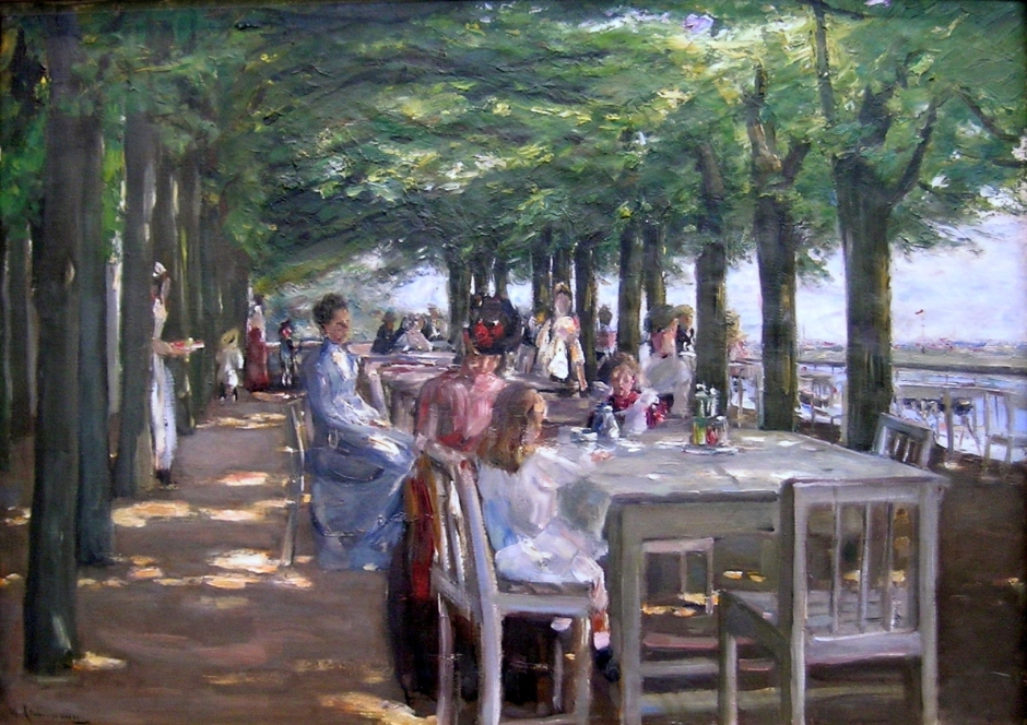 Max Liebermann, Terrasse im Restaurant Jacob in Nienstedten an der Elbe (The Terrace of the Restaurant Jacob in Nienstedten an der Elbe) (1906), oil on canvas, 100 x 70 cm, Hamburger Kunsthalle, Hamburg. WikiArt.