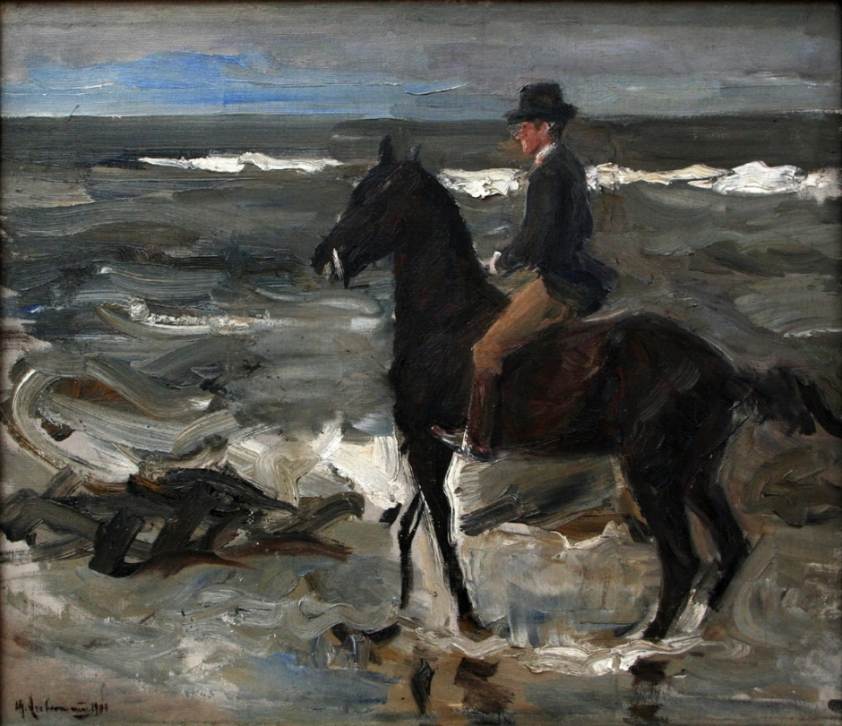 Max Liebermann, Le Cavalier sur la Plage (Rider on the Beach) (1904), oil on canvas, 46 x 55 cm, Musée d'art moderne et d'art contemporain de Liège, Liège. WikiArt.