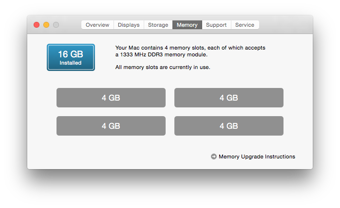 About This Mac displays basic information about installed memory, and links to upgrade instructions.