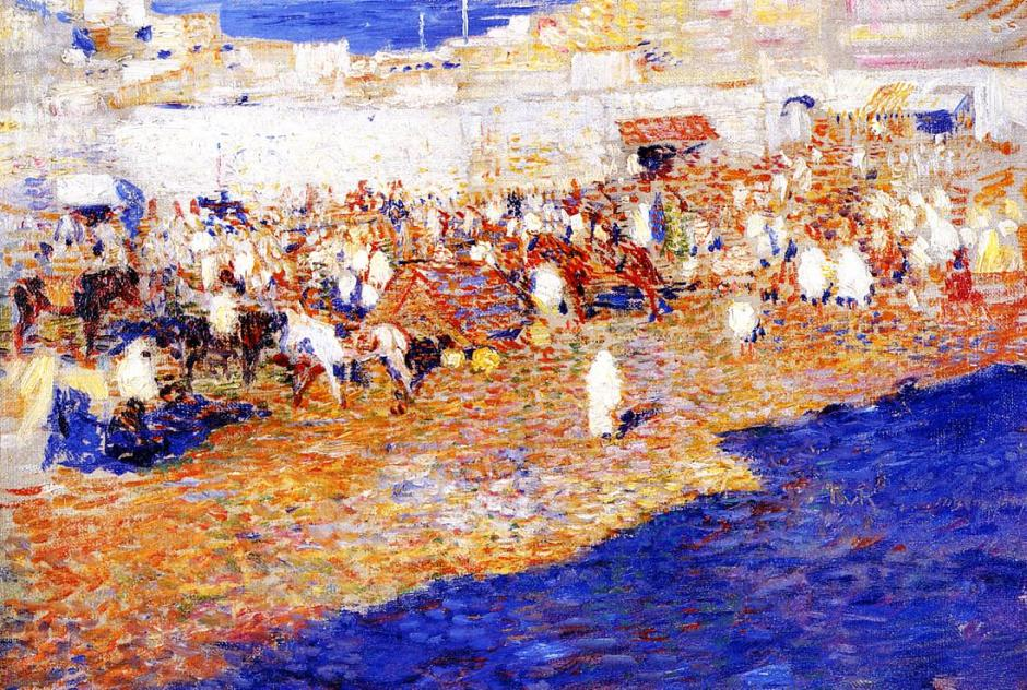 Théo van Rysselberghe, Maroc (Le grand sokko) (Morocco (The Great Souq)) (1887), oil on canvas, 27.5 x 40 cm, Private collection. WikiArt.