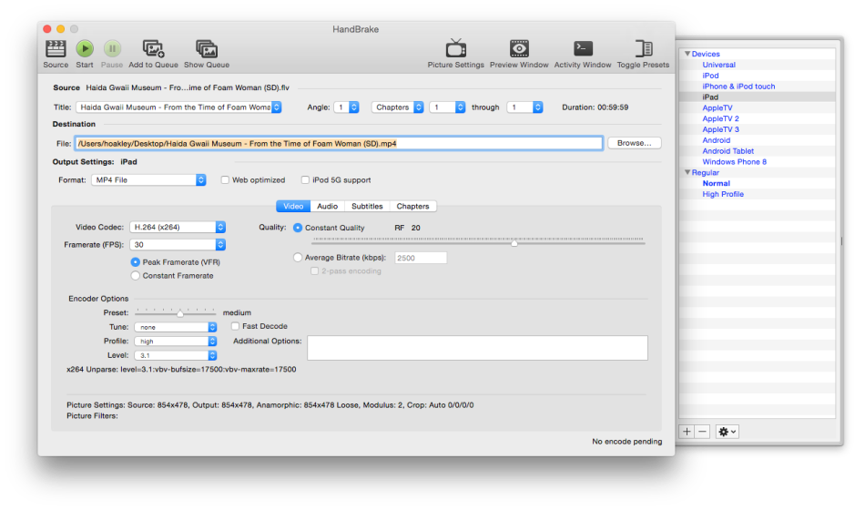 HandBrake is an excellent free all-round movie conversion tool, with a good range of preset output formats.