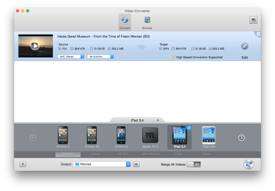 Video-Converter is a good, capable movie conversion tool available from the App Store.
