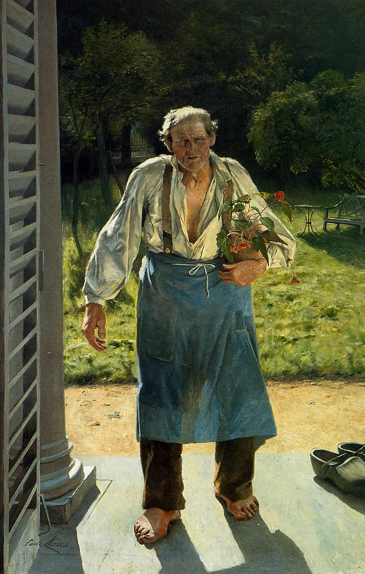 Émile Claus, Le Vieux Jardinier (The Old Gardener) (1885), oil on canvas, 214 x 138 cm, Musée d'Arts moderne et d'Art contemporain, Liège. WikiArt.