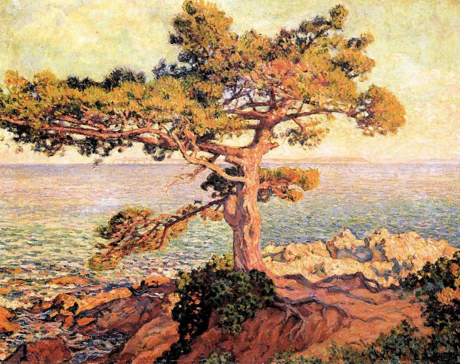 Théo van Rysselberghe (1862-1926), Pine by the Mediterranean Sea (1916), oil on canvas, 81 x 199 cm, Centraal Museum, Utrecht. WikiArt.