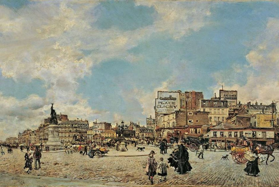 Giovanni Boldini, Place Clichy (1874), oil on panel, 60 x 98 cm, Private collection. WikiArt.