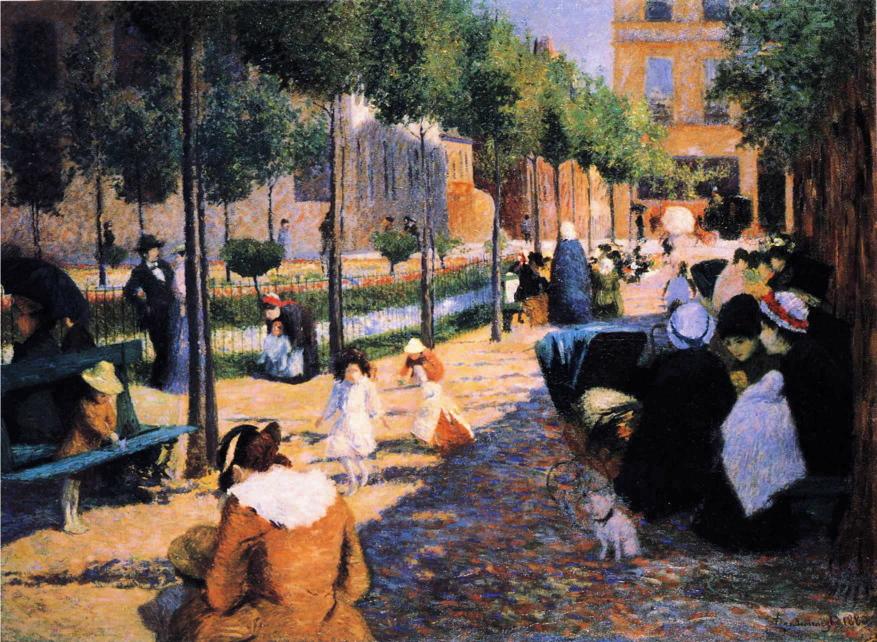 Federico Zandomeneghi, Place d'Anvers, Paris (1880), oil on canvas, 100 x 134.9 cm, Galleria Ricci-Oddi, Piacenza. WikiArt.