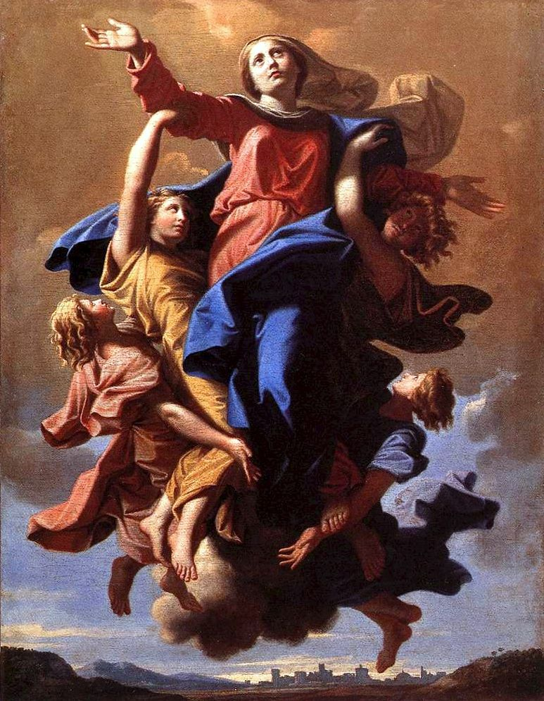 Nicolas Poussin, L'Assomption (The Assumption of the Virgin) (c 1650), oil on canvas, 57 x 40 cm, Musée du Louvre, Paris. Wikimedia Commons.