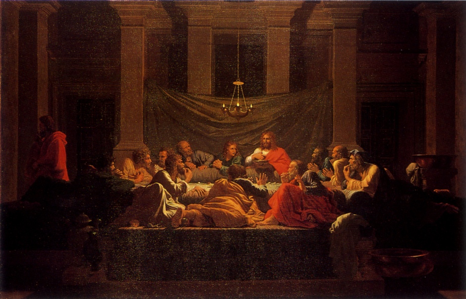 Nicolas Poussin, L'Eucharistie (Holy Eucharist) (Seven Sacraments II) (1647), oil on canvas, 117 x 178 cm, National Galleries of Scotland, Edinburgh. Wikimedia Commons.