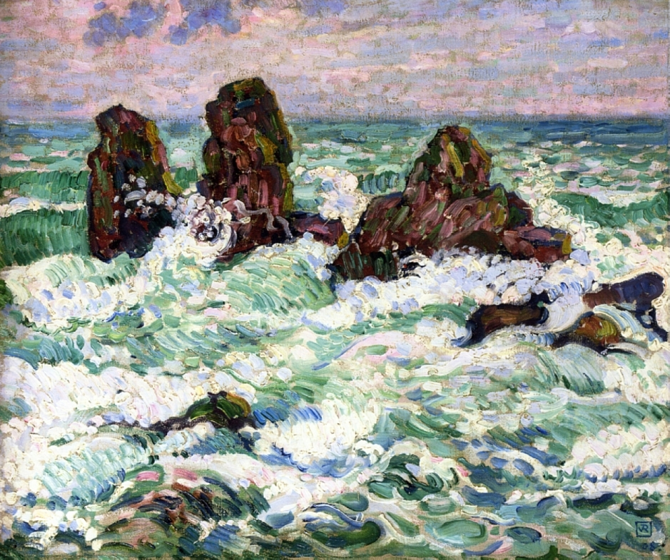 Théo van Rysselberghe, The Rocks (1908), oil on canvas, 46 x 55.9 cm, Private collection. WikiArt.