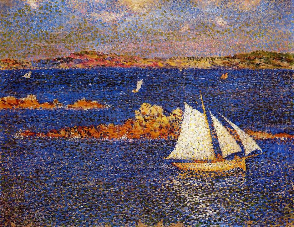 Théo van Rysselberghe, Near the Rocks of Per Kiridec, Roscoff (1889), oil on canvas, 32 x 40 cm, Private collection. WikiArt.