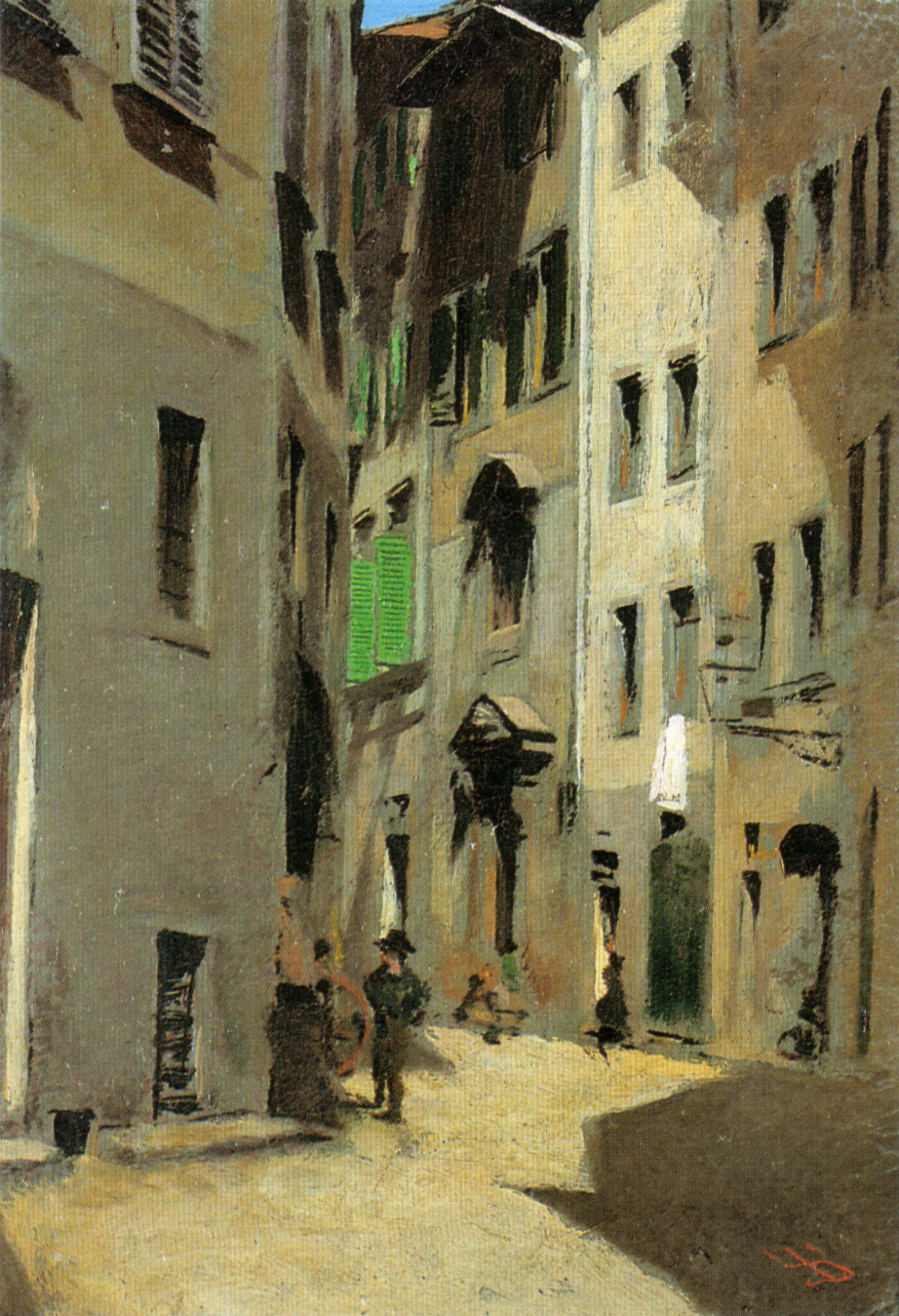 Telemaco Signorini, Via Torta in Florence (c 1870), oil on canvas, 16.6 x 11.3 cm, Location unknown. Wikimedia Commons.
