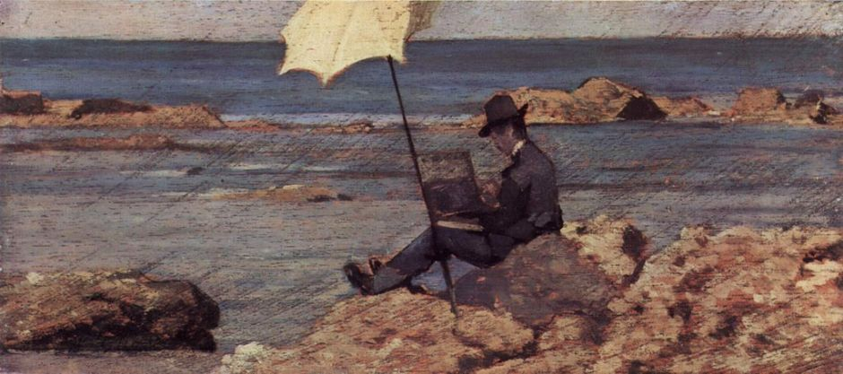 Giovanni Fattori, Portrait of Silvestro Lega, Painting Beside the Sea (1866-7), oil on panel, 12.5 x 28 cm, Private collection. WikiArt.