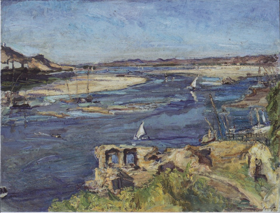 Max Slevogt, Der Nil bei Assuan (The Nile at Aswan) (1914), oil on canvas, 73.5 x 96 cm, New Masters Gallery, Dresden. Wikimedia Commons.
