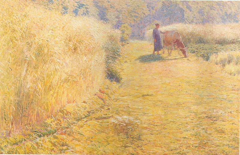 Émile Claus, L'éte (Summer) (1893), oil on canvas, 59 x 93 cm, Musée royal des Beaux-Arts d'Anvers, Antwerp. WikiArt.