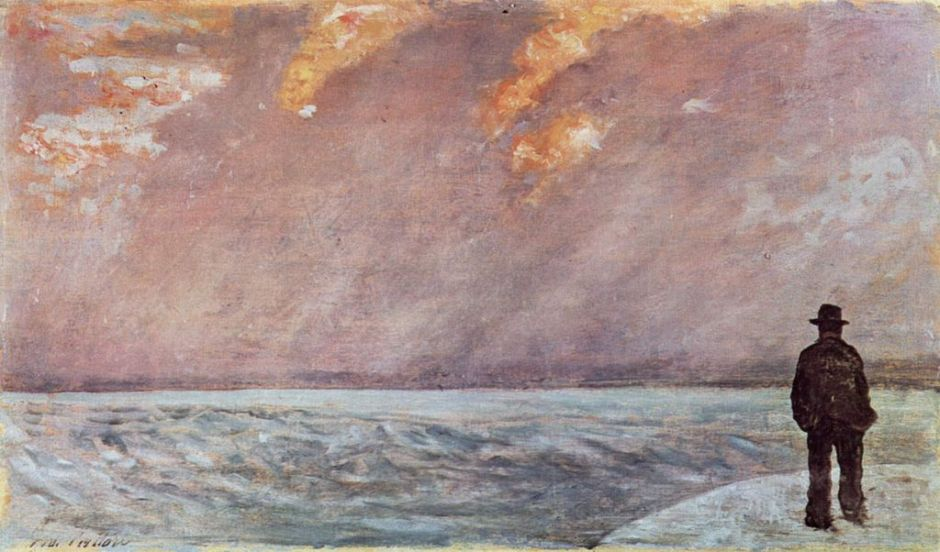 Giovanni Fattori, Sunset over the Sea (c 1895-1900), oil on panel, 19 x 33 cm, Galleria d'Arte Moderna di Palazzo Pitti, Florence. WikiArt.
