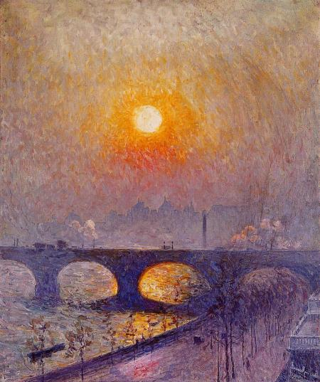 Émile Claus, (Sunset over Waterloo Bridge) (1916), oil on canvas, dimensions not known, location not known. WikiArt.
