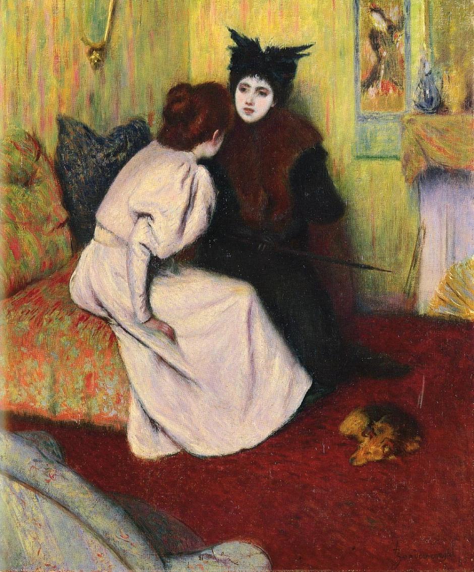 Federico Zandomeneghi, The Conversation (1895), oil on canvas, 55 x 46 cm, Private collection. WikiArt.