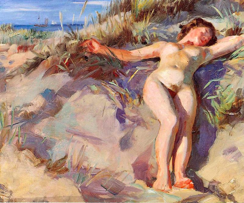 Laurits Tuxen, A Young Nude Woman Sunbathing in the Dunes in Skagen (1906), oil on canvas, dimensions not known, Location unknown. Wikimedia Commons.