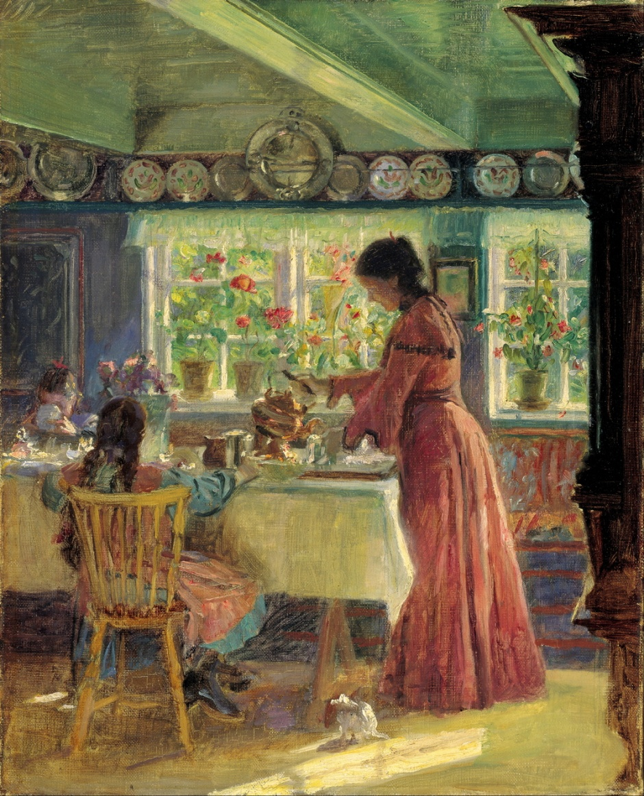 Laurits Tuxen, Pouring the Morning Coffee (1906), oil on canvas, 54 x 44.3 cm, Skagens Museum, Denmark. Wikimedia Commons.