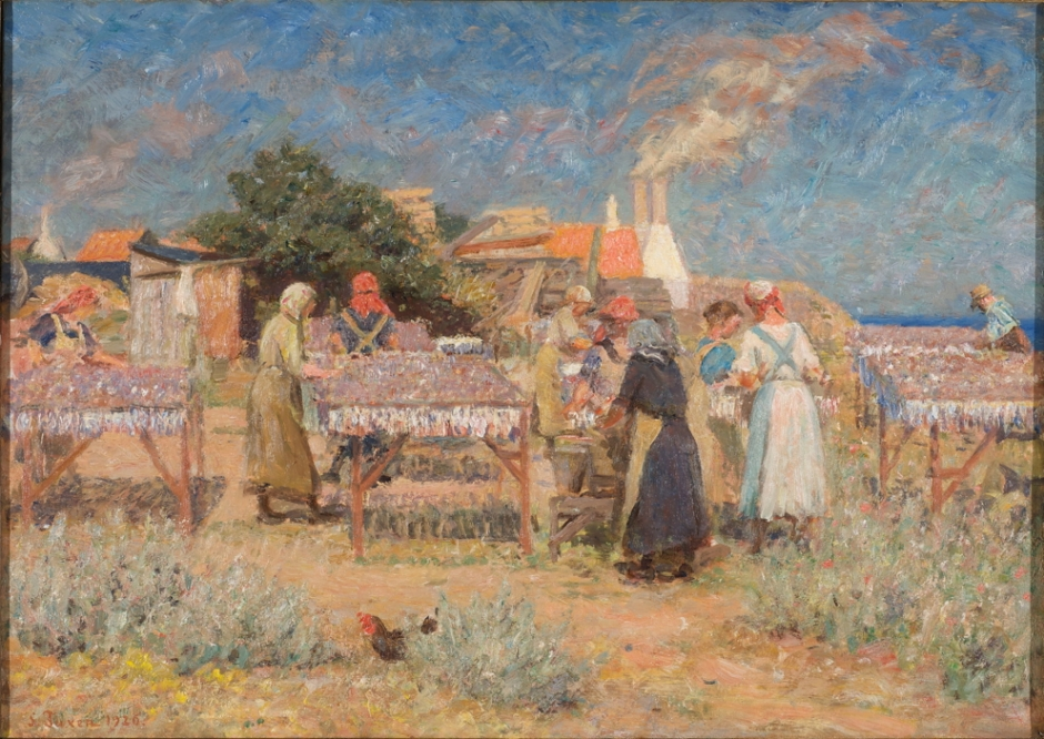 Laurits Tuxen, Sun Drying Herrings (1926), oil on canvas, 50 x 70 cm, Bornholm Art Museum, Denmark. Wikimedia Commons.