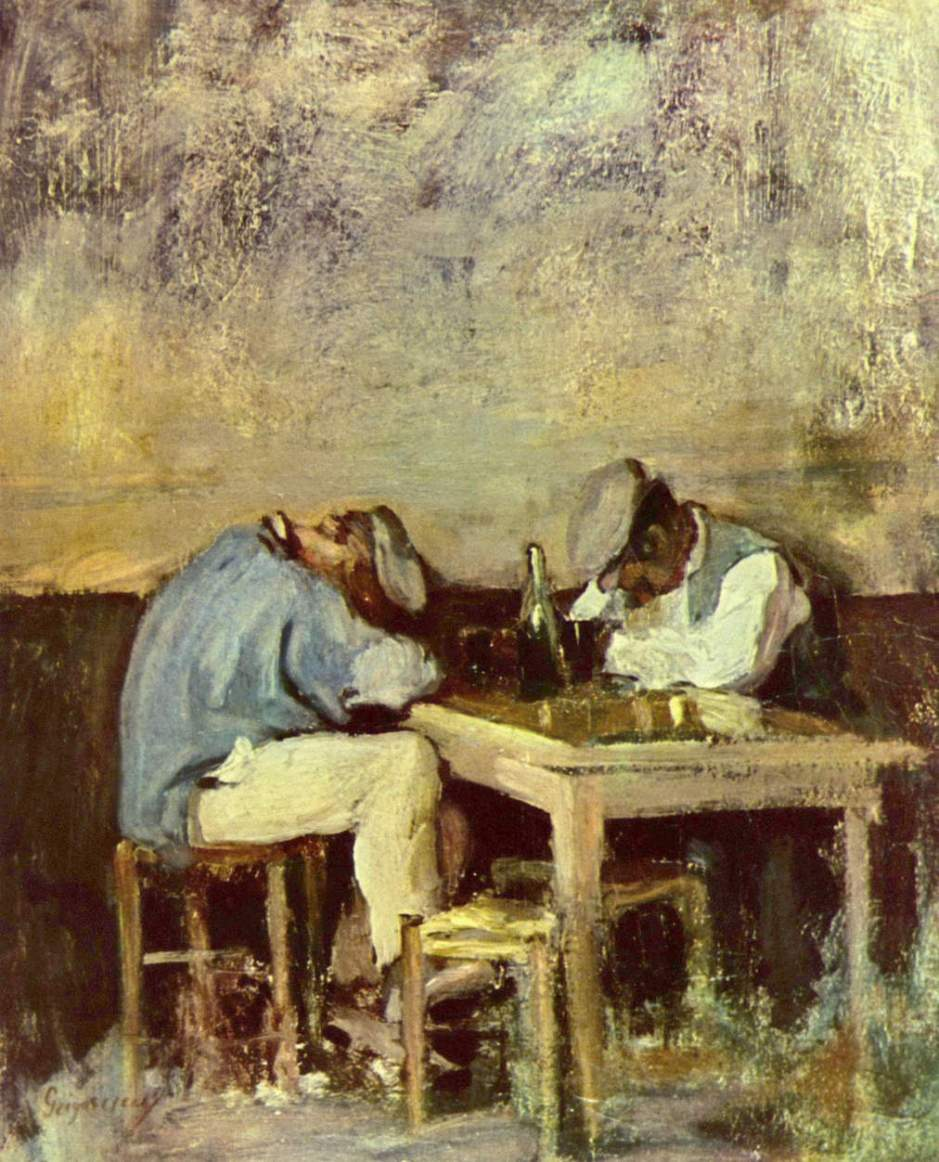 Nicolae Grigorescu, Two Drunks (date not known), oil on canvas, 40.5 x 32.5 cm, Private collection. WikiArt.