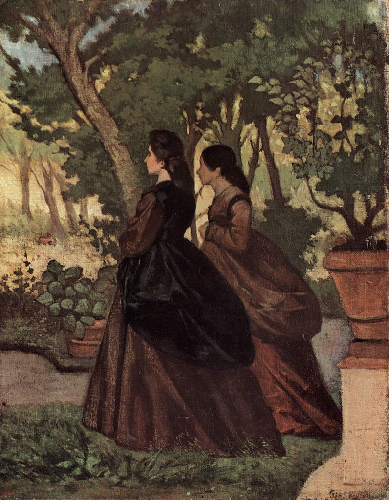 Giovanni Fattori, Two Women in the Garden of Castiglioncello (1864-5), oil on canvas, 34 x 26.5 cm, Private collection. WikiArt.