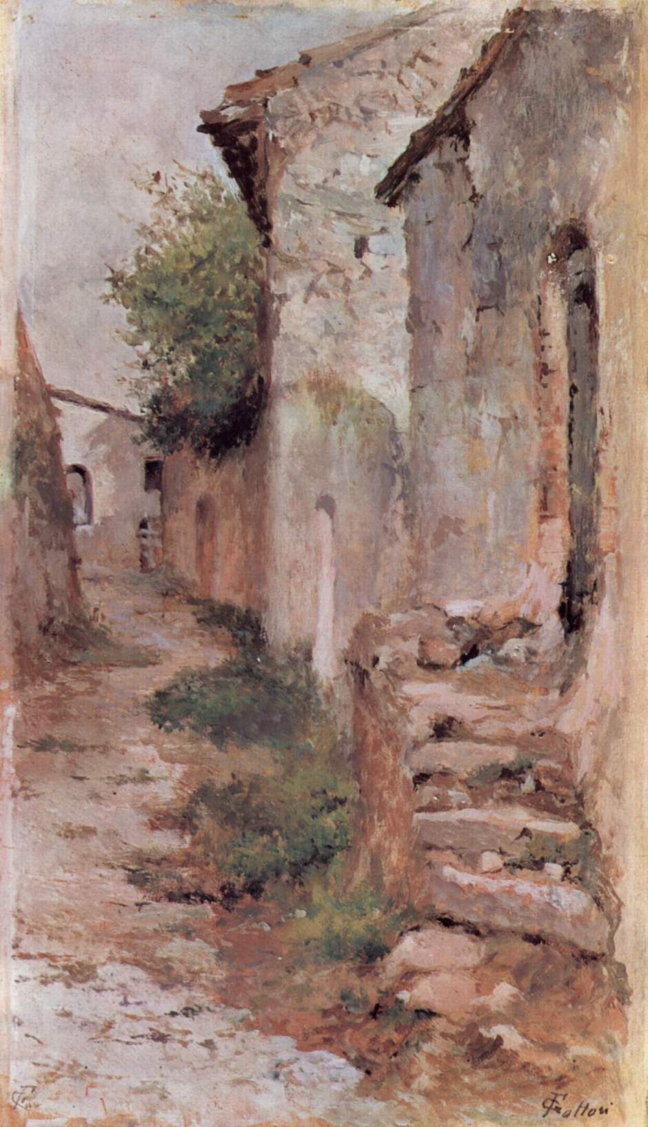 Giovanni Fattori, Village Road (1903-4), oil on wood, 24 x 14 cm, Galleria d'Arte Moderna di Palazzo Pitti, Florence. Wikimedia Commons.