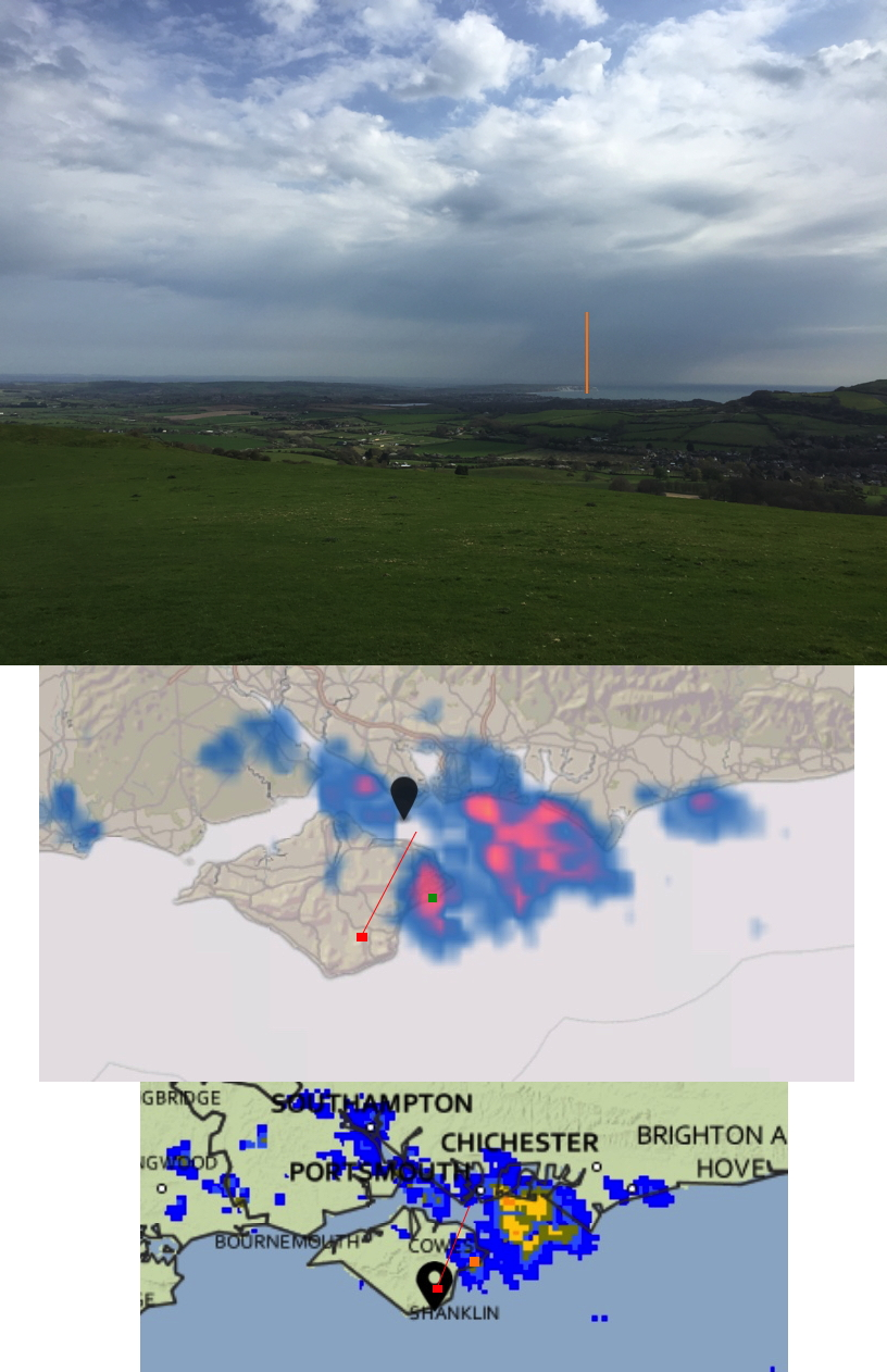 Visible view from the red spot, centre in the direction of the red line, with the orange or green mark indicating Culver Cliff. Not the mismatch between Dark Sky radar (upper) and UK Met Office radar (lower), and with observation of the rain further north east.