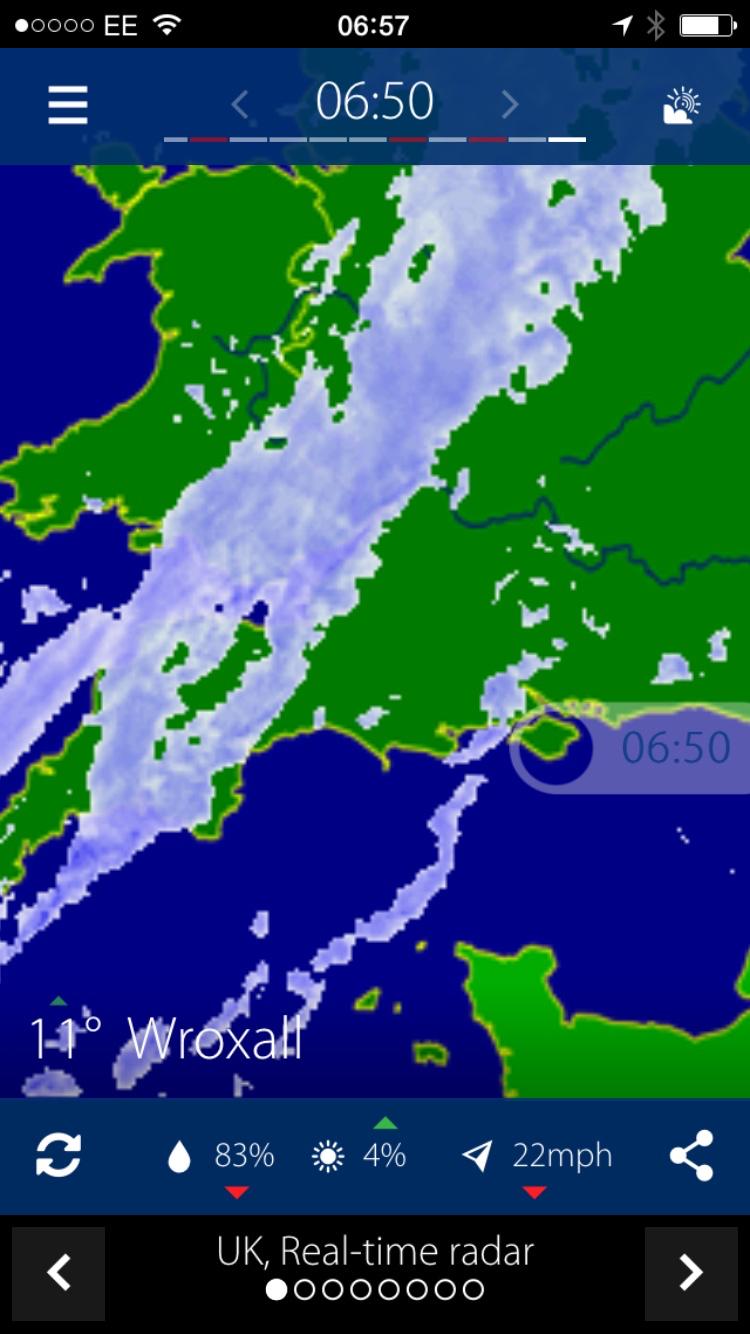 A snapshot of Rainradar's rainfall radar animation.