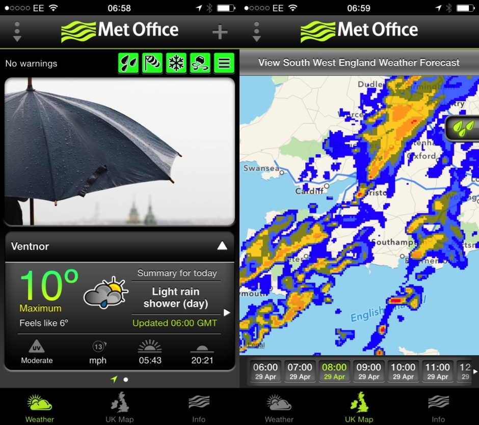 Met Office main screens, showing the forecast and forecast rainfall radar for 1 hour ahead.