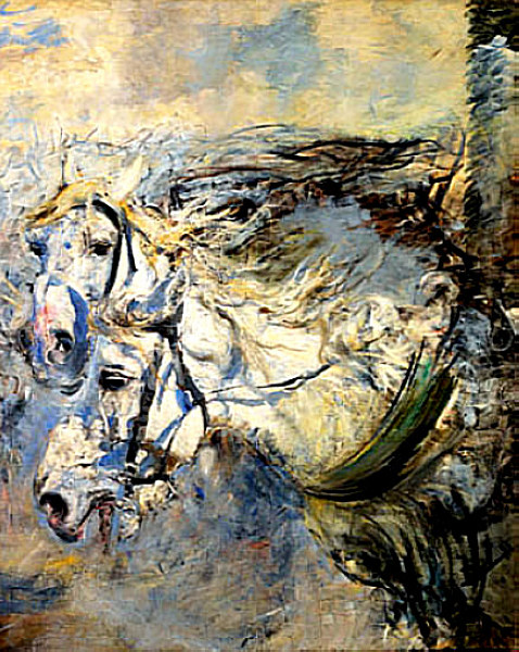 Giovanni Boldini, Two White Horses (c 1881–86), oil on canvas, 153 x 122.5 cm, Gallerie d'Arte Moderna e Contemporanea, Museo Giovanni Boldini, Ferrara. WikiArt.
