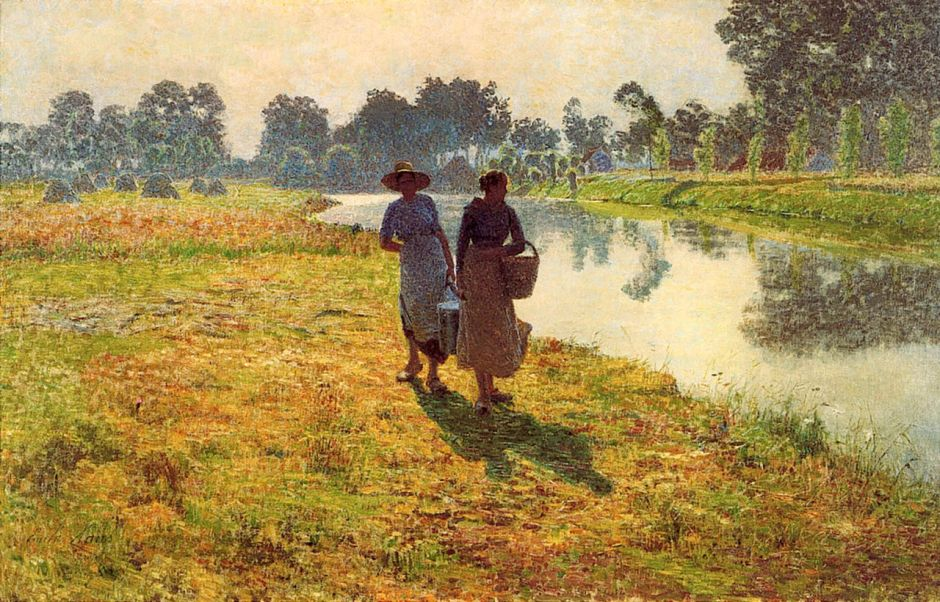 Émile Claus, Jeunes agricultrices le long de la Lys (Young Peasant Women beside the Lys) (1887), oil on canvas, 73 x 119 cm, Private collection. WikiArt.
