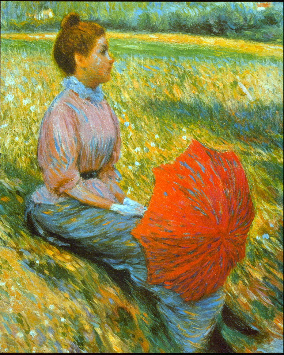 Federico Zandomeneghi, Lady in a Meadow (1893), oil on canvas, 46 x 38 cm, Private collection. WikiArt.