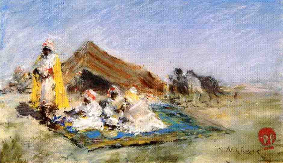 William Merritt Chase, Arab Encampment (1883), pastel, 19.69 x 34.29 cm, Private collection. WikiArt.