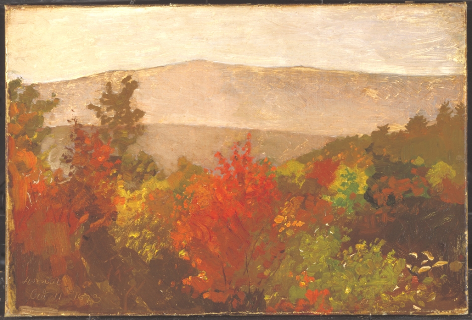 Winslow Homer, Autumn Tree Tops (1873), oil on canvas, 50.8 x 66 cm, Cooper-Hewitt, Smithsonian Design Museum, New York, NY. Wikimedia Commons.