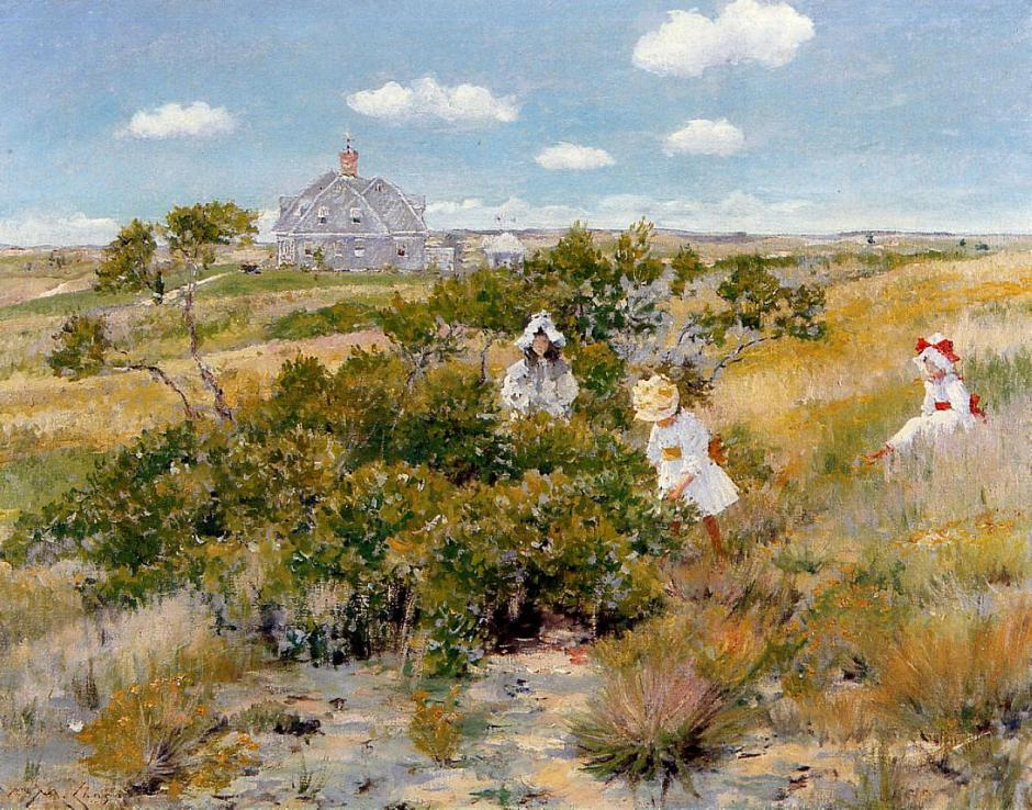 William Merritt Chase, The Big Bayberry Bush (c 1895), oil on canvas, 64.77 x 84.14 cm, Parrish Art Museum, Water Mill, NY. WikiArt.