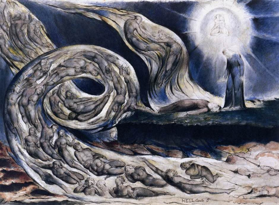 William Blake, The Lovers' Whirlwind, Francesca da Rimini and Paolo Malatesta (illustration for Dante, The Divine Comedy) (1824-7), watercolour, pen and ink, 37.4 x 53 cm, Birmingham Museum and Art Gallery, Birmingham. WikiArt.