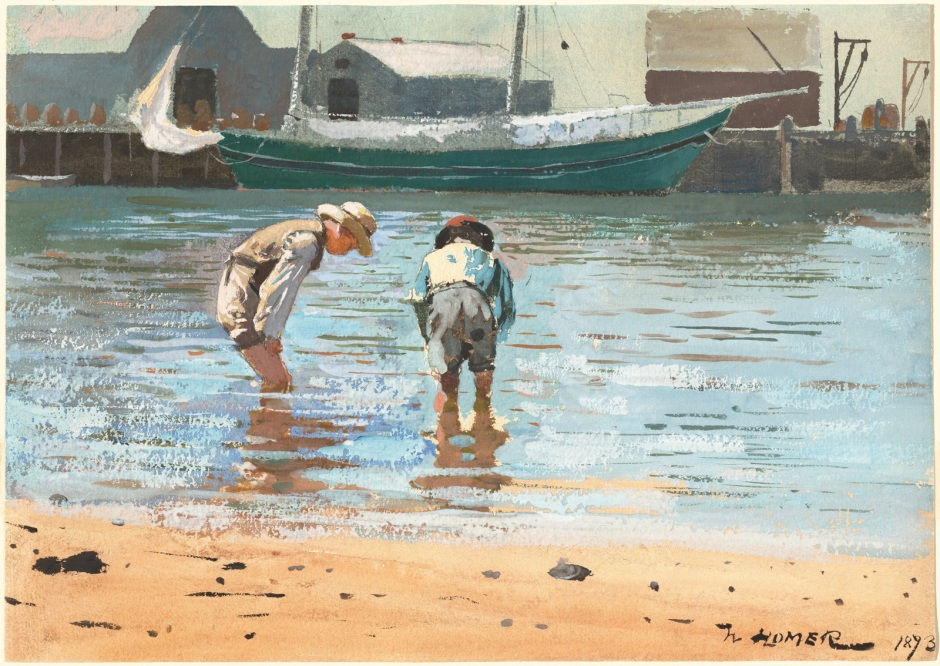 Winslow Homer, Boys Wading (1873), watercolour and gouache over graphite on wove paper, 24.77 x 34.93 cm, The National Gallery of Art, Washington, DC. Wikimedia Commons.