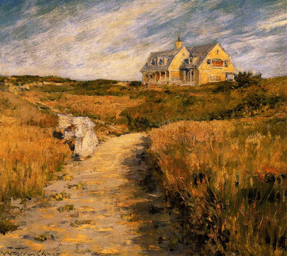 William Merritt Chase, The Chase Homestead, Shinnecock (c 1893), oil on canvas, 35.9 x 41 cm, San Diego Museum of Art, San Diego, CA. WikiArt.