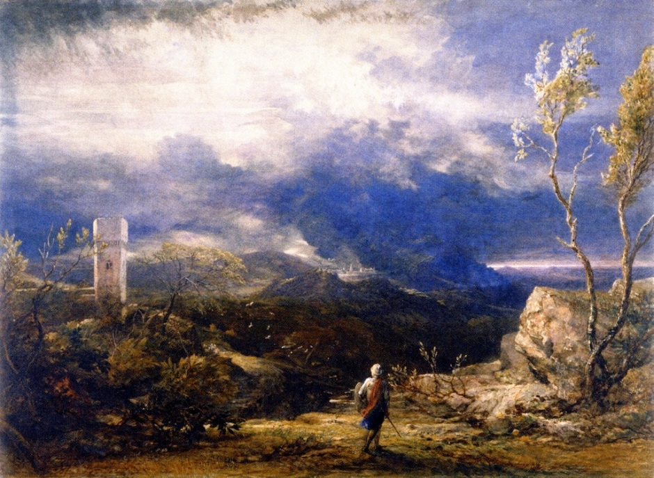 Samuel Palmer, Christian Descending into the Valley of Humiliation (1848), watercolour, 51.9 x 71.4 cm, Ashmolean Museum, Oxford. WikiArt.