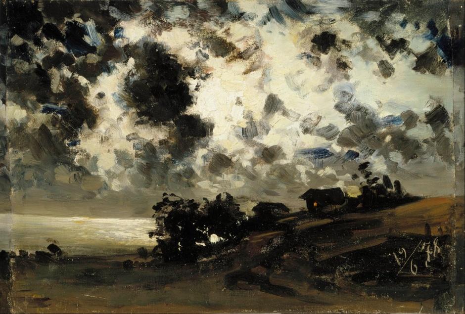 Fanny Churberg, Moonlight, study (1878), oil on canvas glued to cardboard, 37.5 x 55.5 cm, Ateneum, Helsinki. Wikimedia Commons.