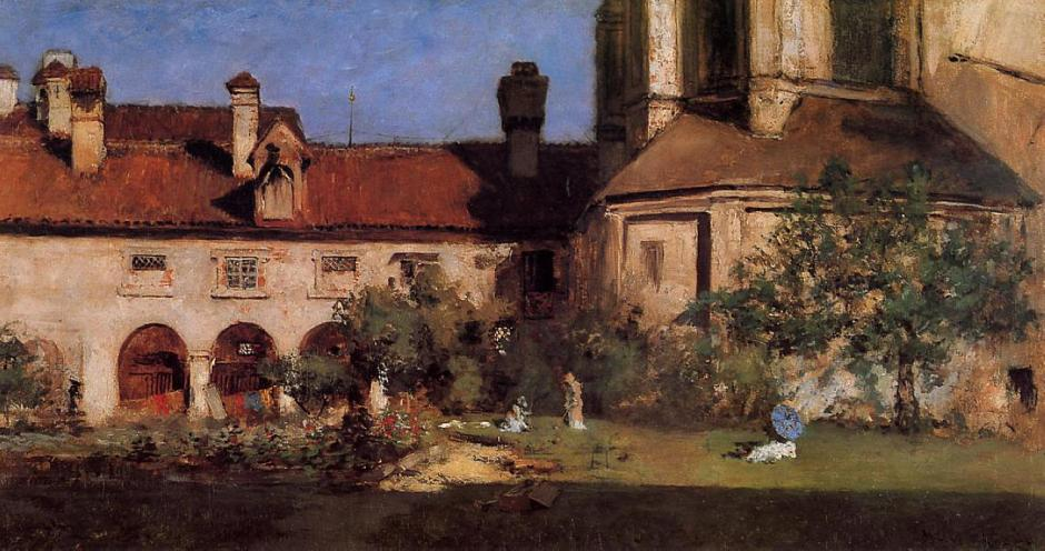 William Merritt Chase, The Cloisters (c 1880), oil on canvas, 61.28 x 91.44 cm, location not known. WikiArt.