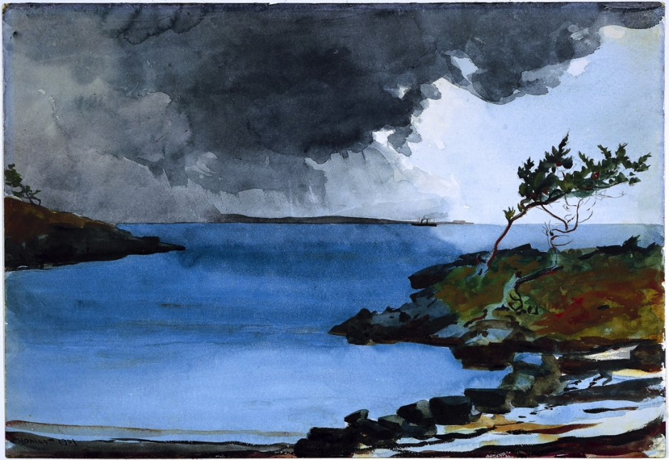 Winslow Homer, The Coming Storm (1901), watercolour over graphite on paper, 36.9 x 53.5 cm, The National Gallery of Art, Washington, DC. Wikimedia Commons.