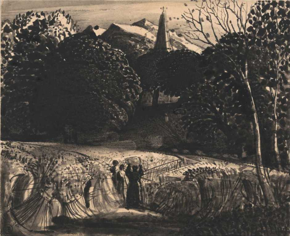 Samuel Palmer, Cornfield and Church by Moonlight (c 1830), black ink on paper, 15.2 x 18.4 cm, Yale Center for British Art, New Haven, CT. Wikimedia Commons.