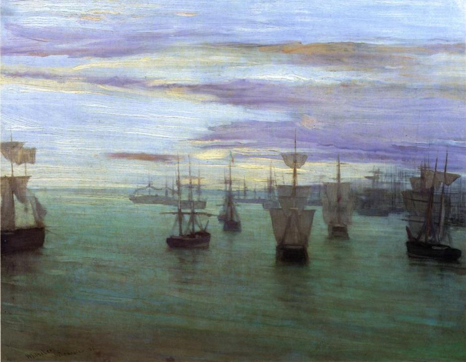 James Abbott McNeill Whistler, Crepuscule in Flesh Colour and Green: Valparaiso (1866), oil on canvas, 58.4 x 75.5 cm, The Tate Gallery, London. WikiArt.