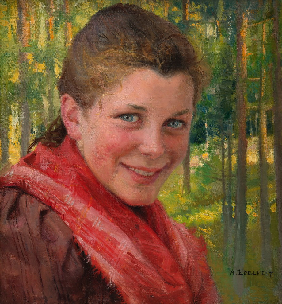Albert Edelfelt, A Girl from Porvoo (A Farmer's Daughter from Uusimaa) (1895), oil on canvas, 37.5 x 36 cm, location not known. Wikimedia Commons.