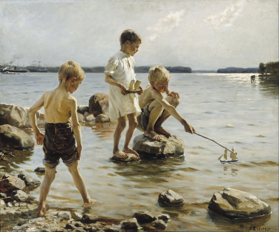 Albert Edelfelt, Boys Playing on the Shore (1884), oil on canvas, 90 x 107.5 cm, Ateneum, Helsinki. Wikimedia Commons.