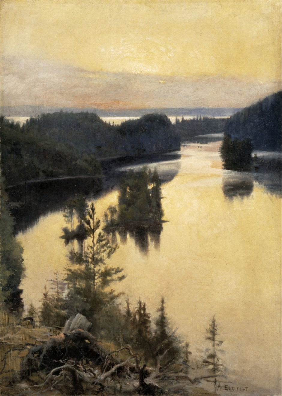 Albert Edelfelt, Kaukola Ridge at Sunset (1889-90), oil on canvas, 116.5 x 83 cm, Ateneum, Helsinki. Wikimedia Commons.