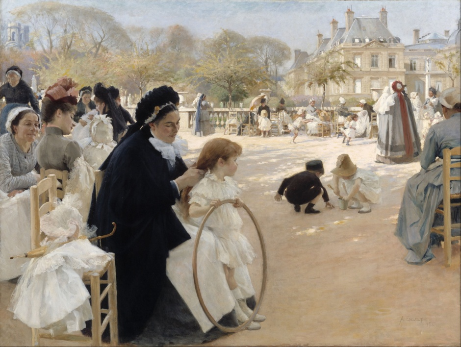 Albert Edelfelt, The Luxembourg Gardens, Paris (1887), oil on canvas, 141.5 x 186 cm, Ateneum, Helsinki. Wikimedia Commons.